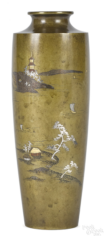 Japanese Meiji period mixed metal vase
