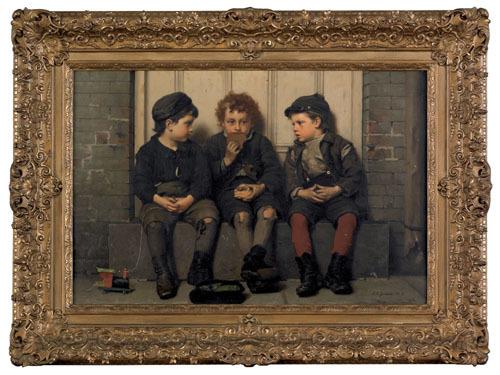 John George Brown (American, 1831-1913), oil on ca