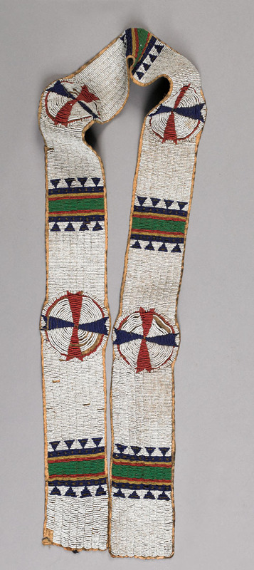 Native American beaded hide sash, late 19th c., 61