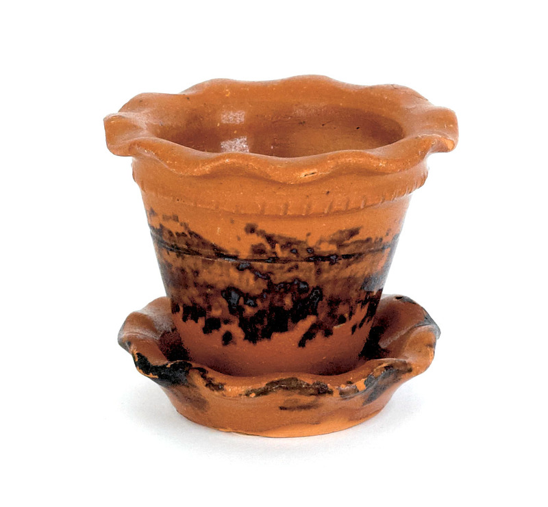 Miniature redware flower pot and undertray, late 1