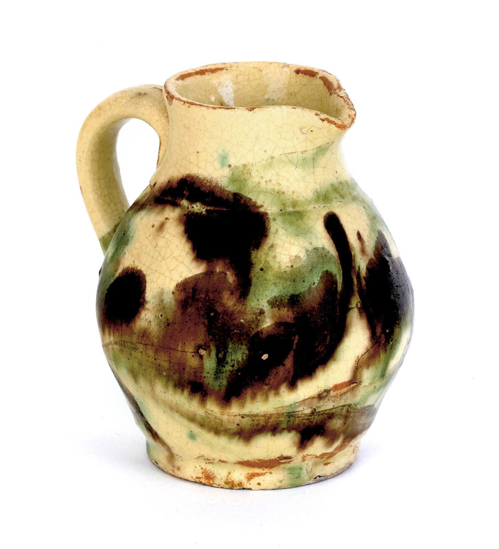 Shenandoah Valley redware creamer, 19th c., with m