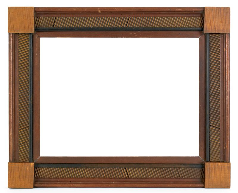 Pennsylvania carved and painted folk art frame, 19