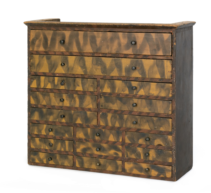 Pennsylvania painted spice chest, mid 19th c., wit
