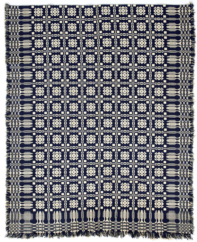 Blue and white jacquard coverlet, ca. 1840, with p