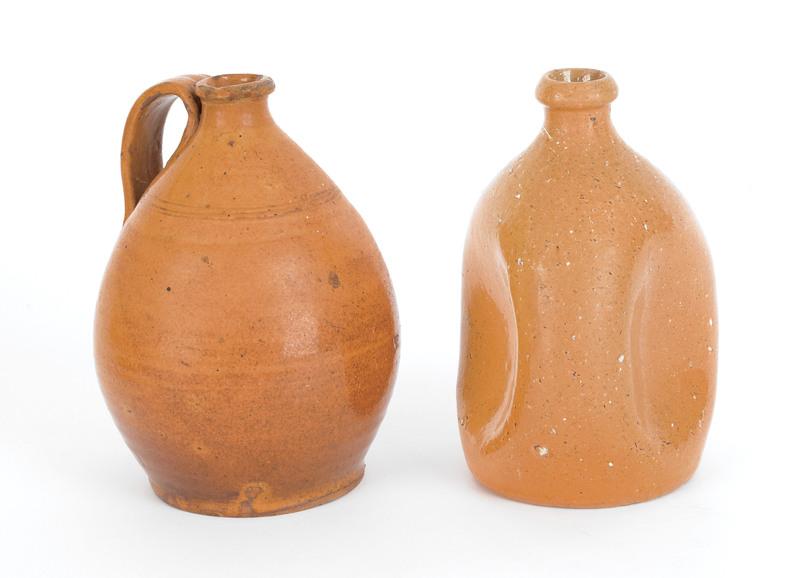 Redware side pinch jug, 19th c., 7 1/4