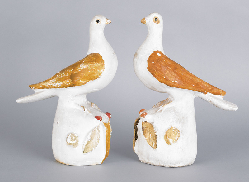 Pair of painted chalkware doves, 19th c., 11