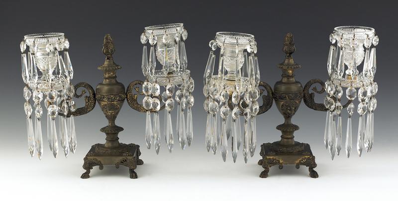 Pair of classical bronze girondoles, 19th c., with