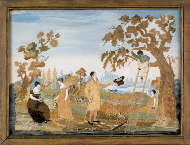 Silk, chenille, and paint on silk landscape, early