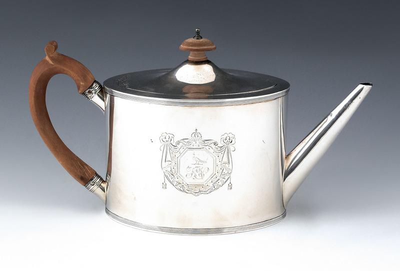 English silver teapot, 1790-1791, bearing illegibl
