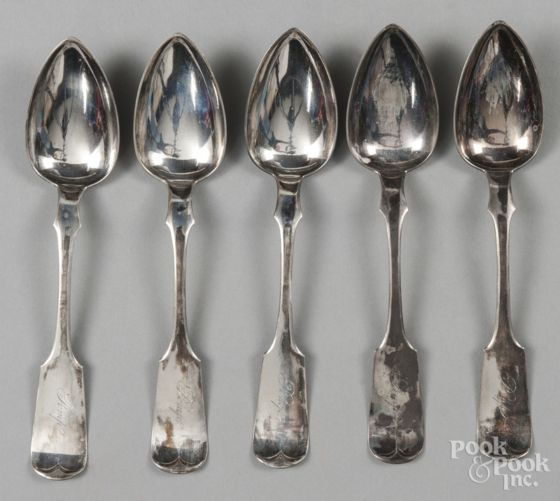 Set of five coin silver serving spoons