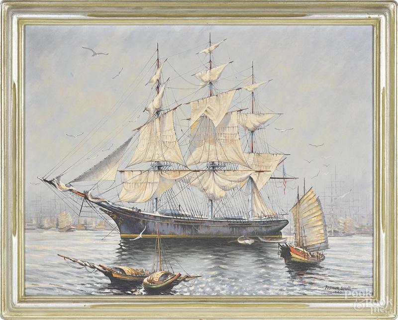 Arthur Small, oil on canvas of a ship