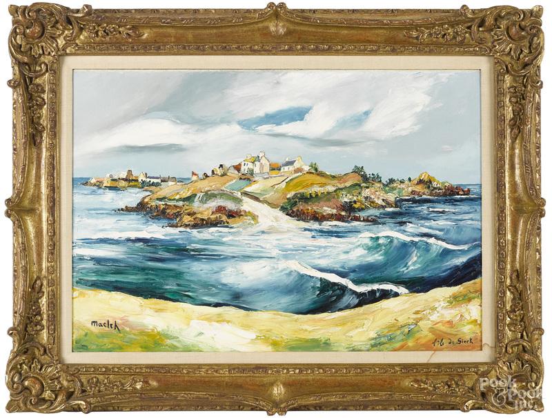 Elisee Maclet, oil on canvas of Sieck Island
