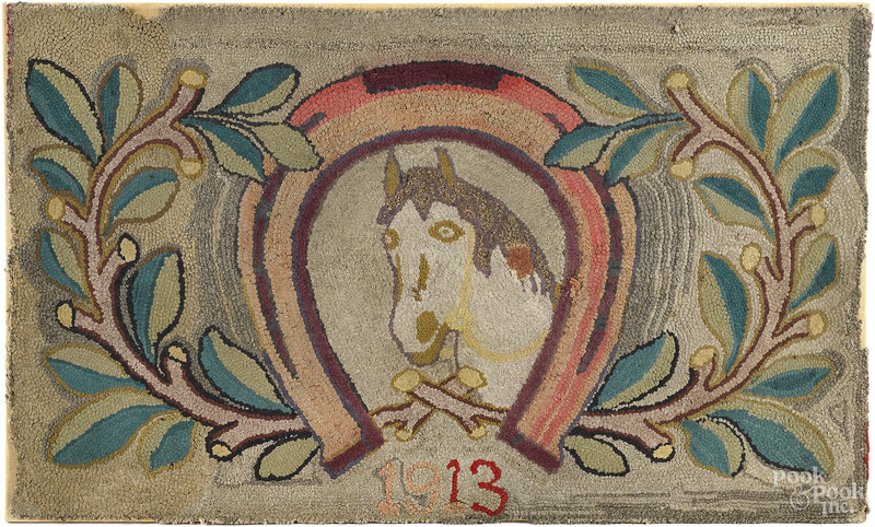 American hooked rug with horse