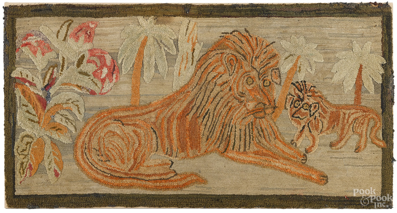 American hooked rug with lions