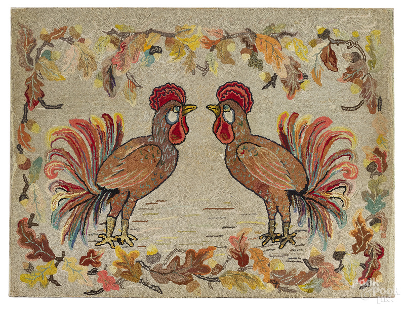 American hooked rug with roosters
