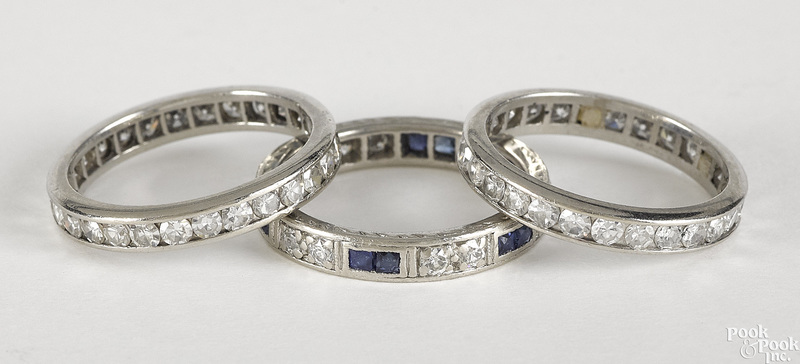 Three platinum diamond eternity bands