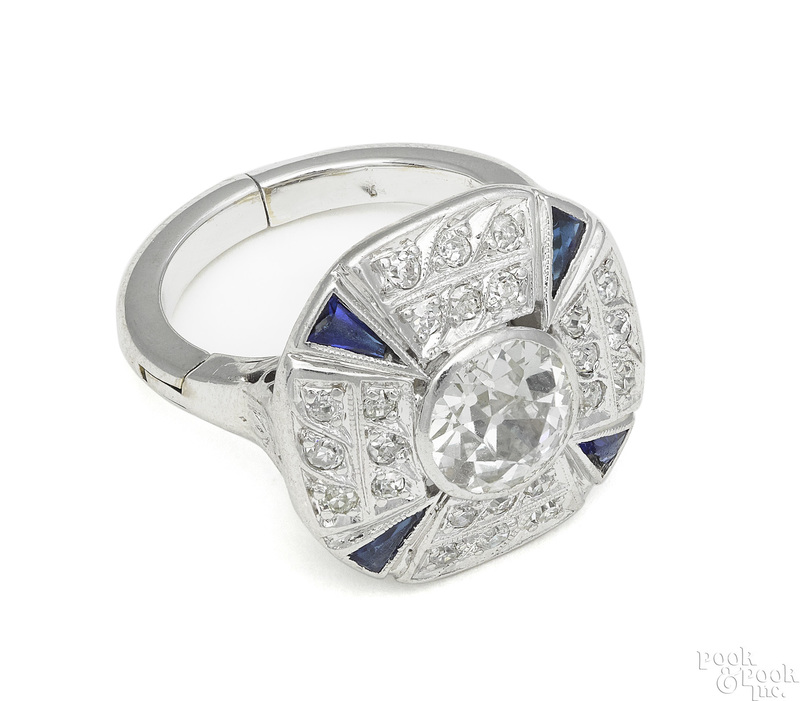 Platinum diamond and sapphire Art Deco ring