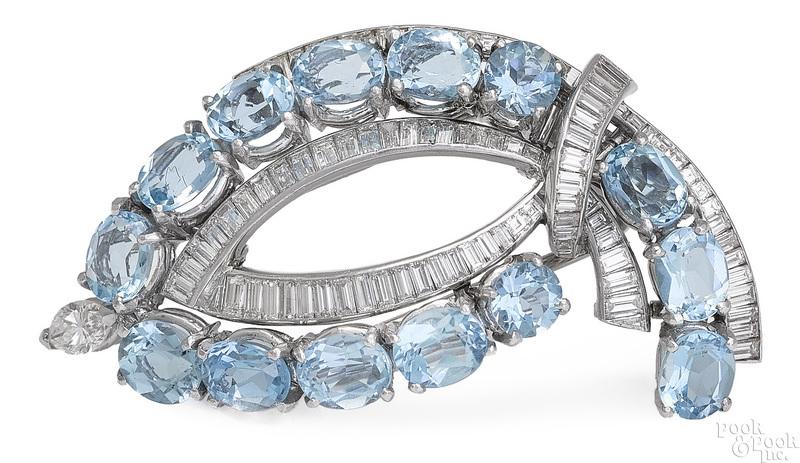Platinum aquamarine and diamond brooch