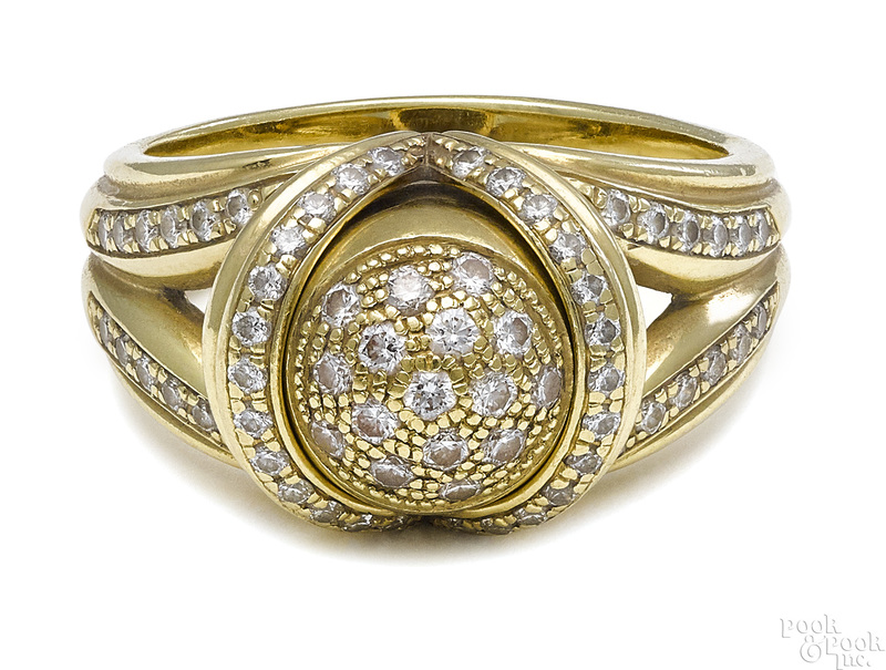 18K yellow gold removable diamond bullet ring