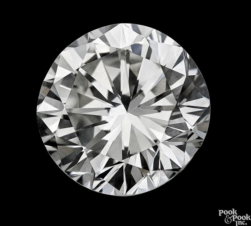 One brilliant cut round 4.44 ct unmounted diamond