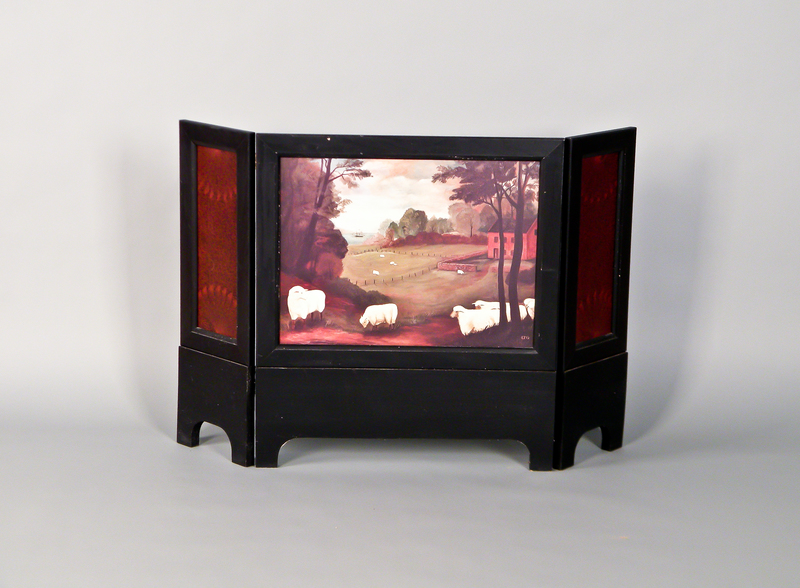 Contemporary ebonized folding screen with printed