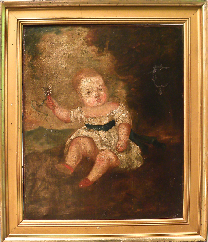 English oil on canvas portrait of a young girl, 1