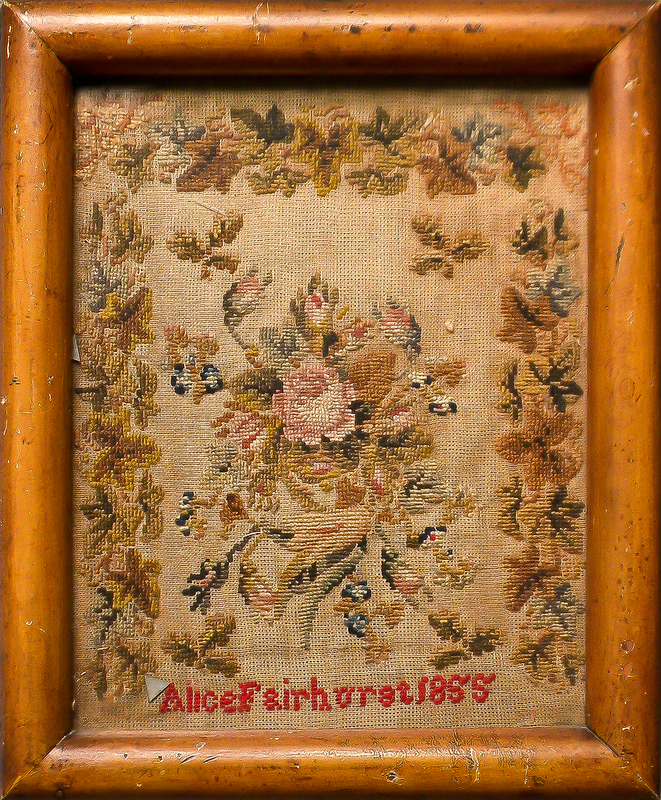 English silk on linen sampler dated 1834 and wrou