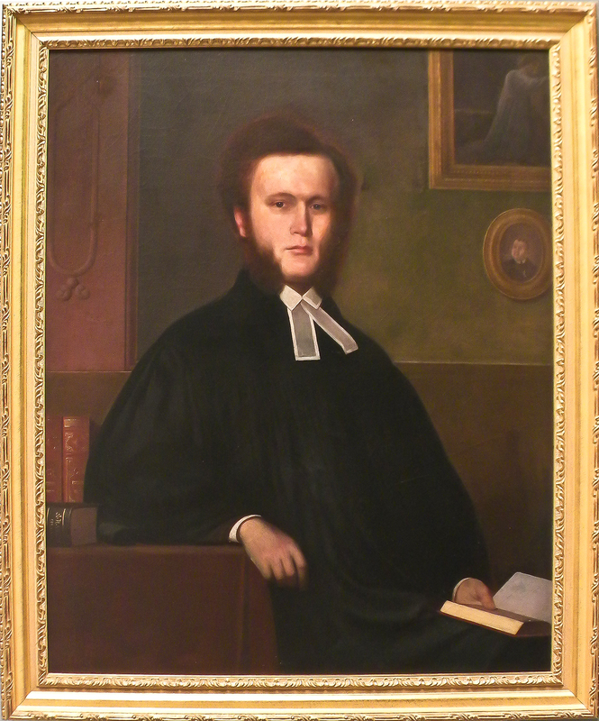 American oil on canvas portrait of a clergyman, m