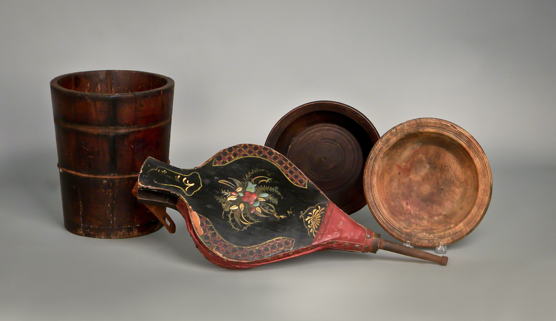 Two turned wooden bowls, together with a staved b