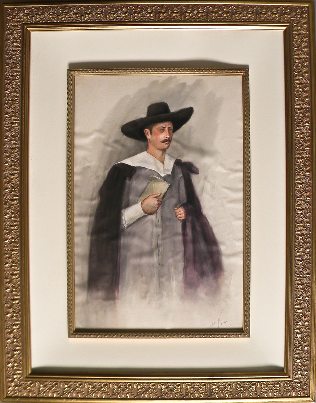 Watercolor portrait of a padre, signed lower righ