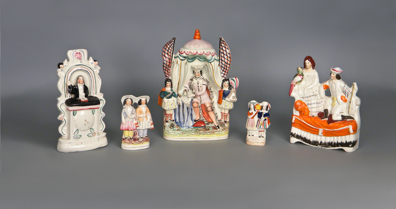 Five Staffordshire figures, 19th c., tallest - 12