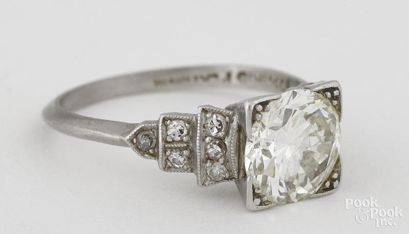 Platinum and diamond ring, size 5, 2.2 dwt.