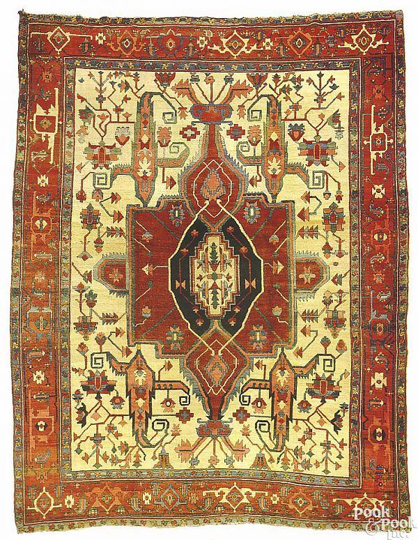 Antique Serapi carpet with a large central medalli