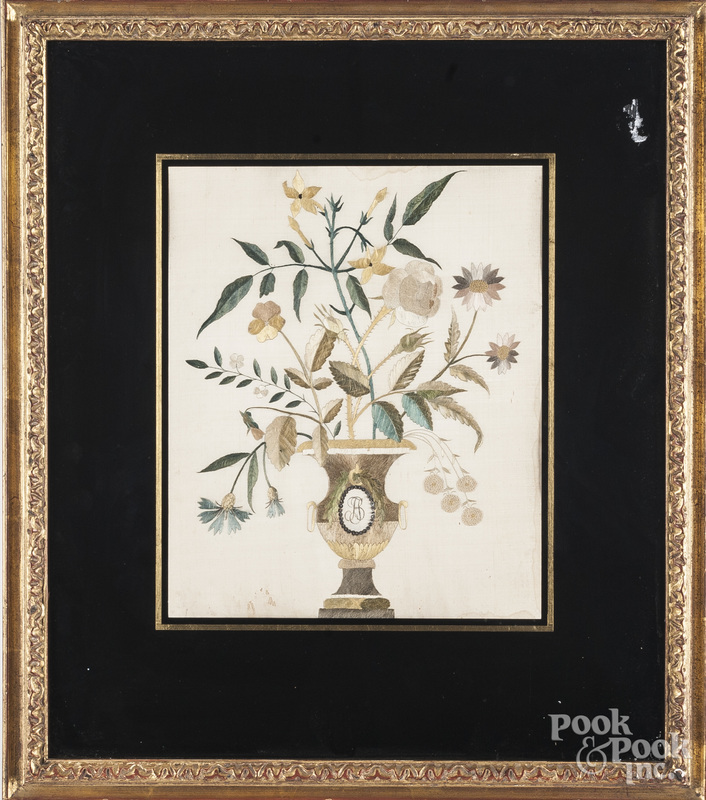 Silk embroidery of an urn of flowers