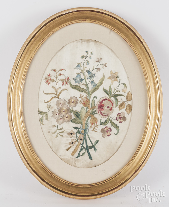 Silk embroidery of flowers