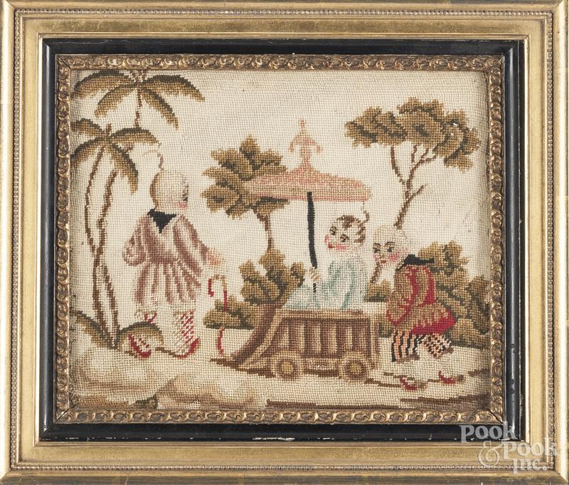 Needlework picture of three children