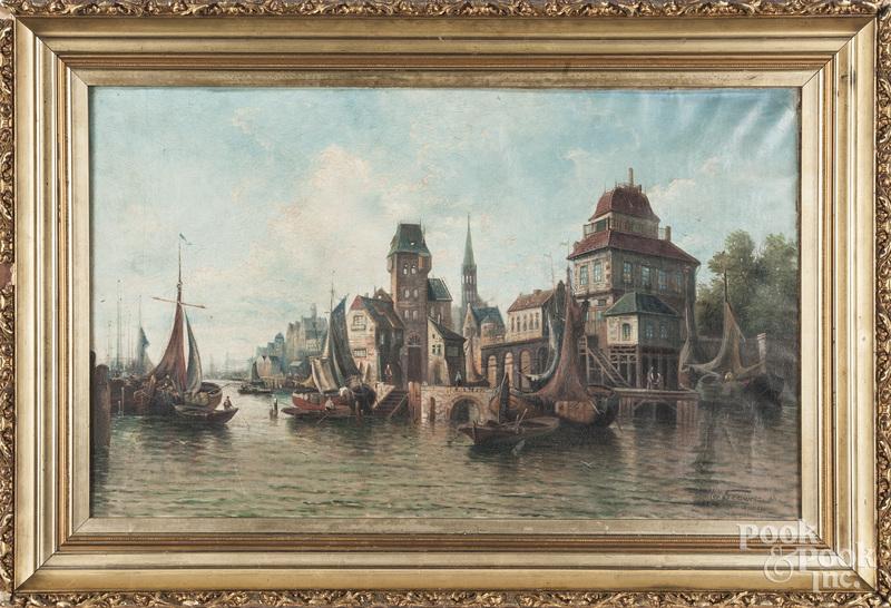 Continental oil on canvas harbor scene