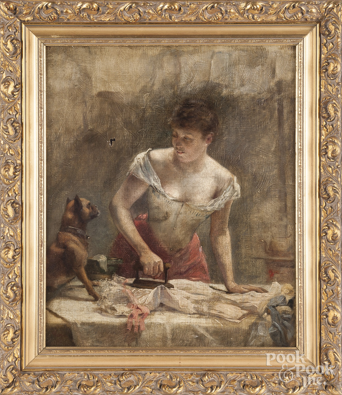 French oil on canvas of a woman ironing
