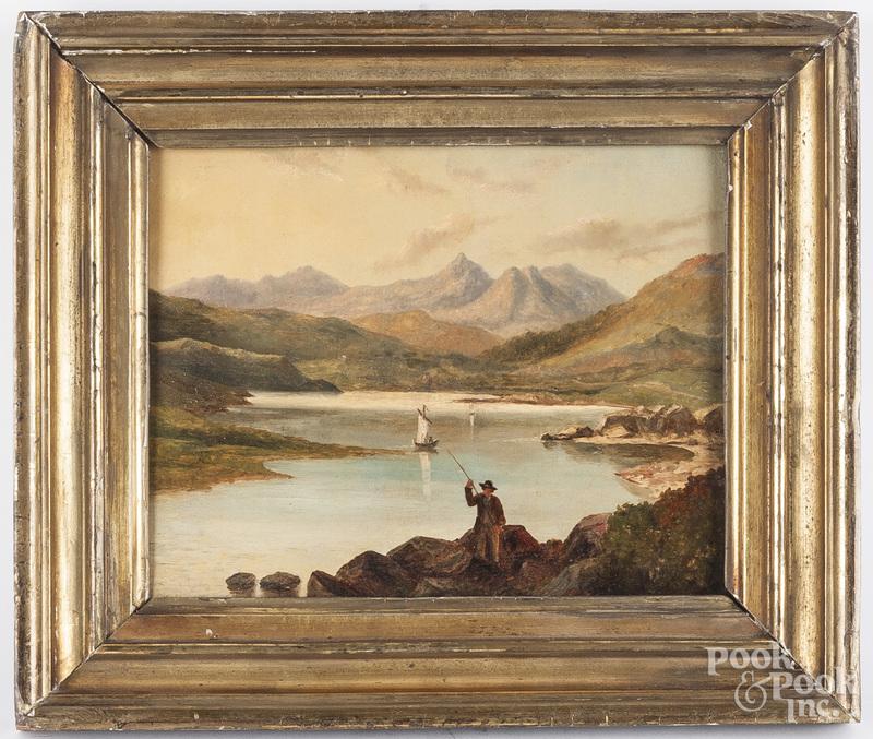 American oil on canvas river landscape