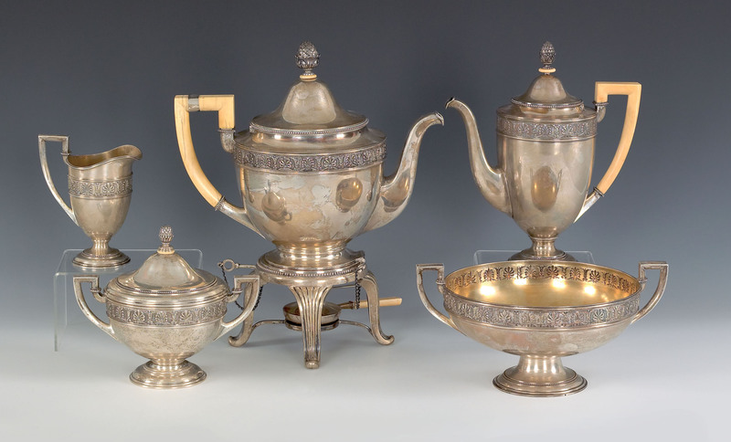 Russian five piece silver tea service, stamped in