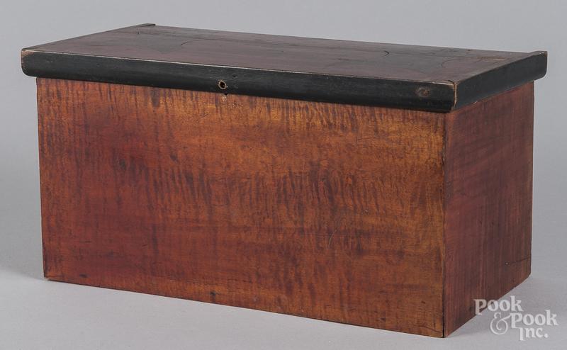 Tiger maple and mahogany inlaid valuables box