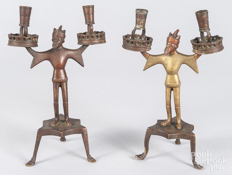 Pair of figural bronze king candelabras
