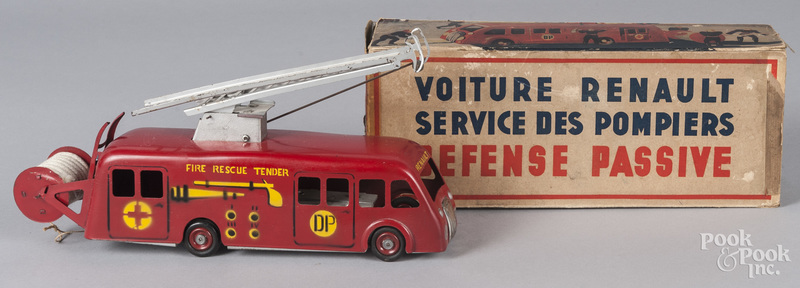 French tin litho Fire Rescue Tender ladder truck