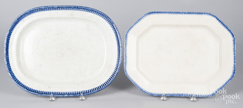 Two pearlware blue feather edge platters