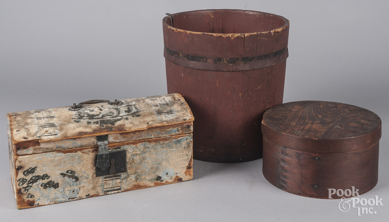 Red painted pine bucket