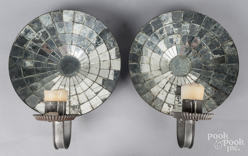 Pair of mirrored tin sconces