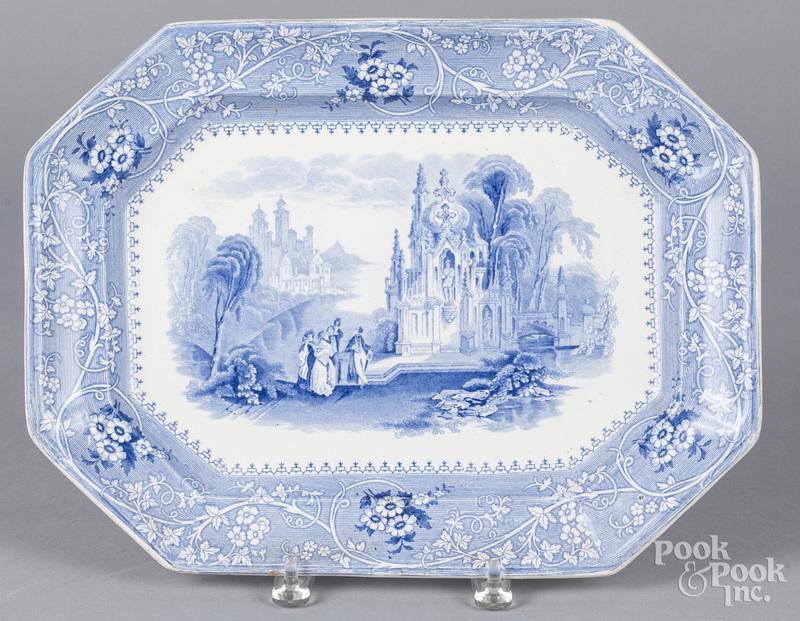 Blue Staffordshire Columbia platter