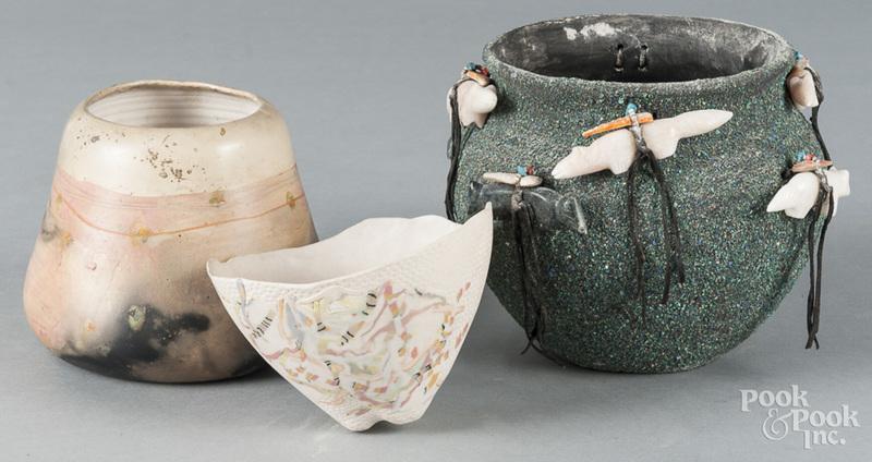 Three pottery bowls