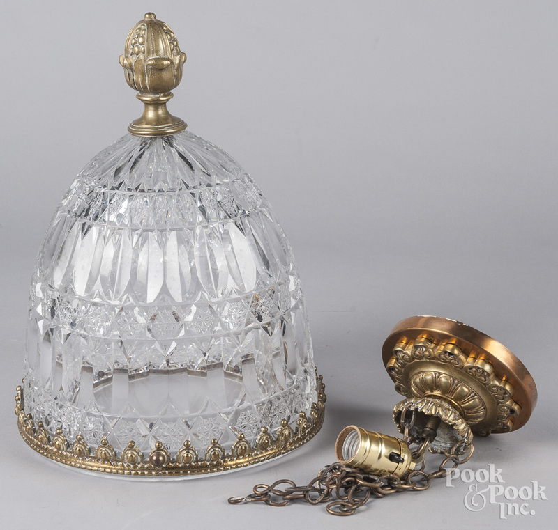 Brass and cut glass hanging light