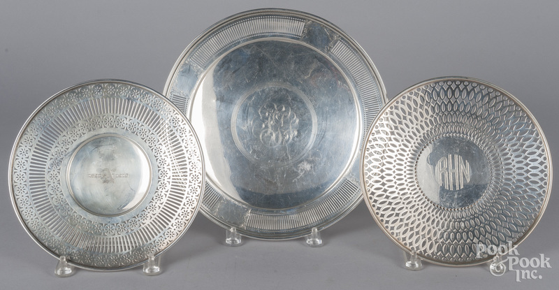 Three sterling silver footed trays